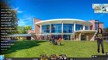 Tour Skidmore - Virtual Tour with a guide, 360 views, photo galleries, and videos